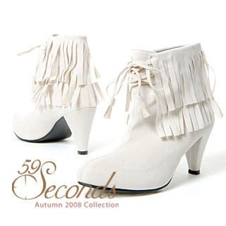 Buy 59 Seconds High Heel Fringed Ankle Boots 1012162467
