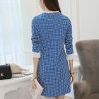 Frill Trim Check Long-Sleeve Shift Dress 1596