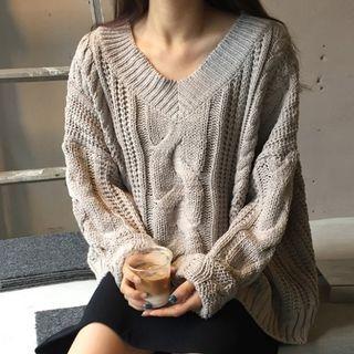 V-Neck Rib Knit Sweater 1064751474