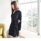 Long-Sleeve Tie-Waist Plaid Dress 1596