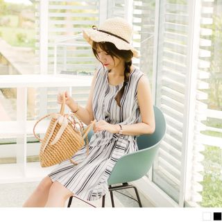Sleeveless | Stripe | Dress | Wrap
