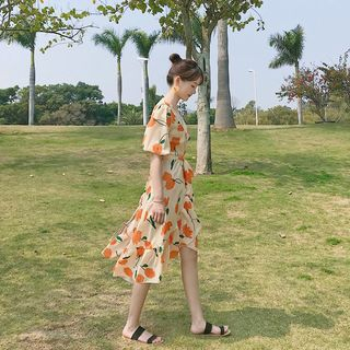 Image of Floral Elbow-Sleeve Midi A-Line Chiffon Dress