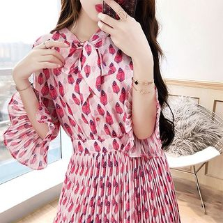Rosewind Elbow-Sleeve Patterned Chiffon Dress