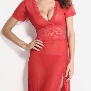 Set: Lace Nightdress + Thong 1056896985