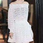 Set: Off-shoulder Long-Sleeve Top + Skirt 1596