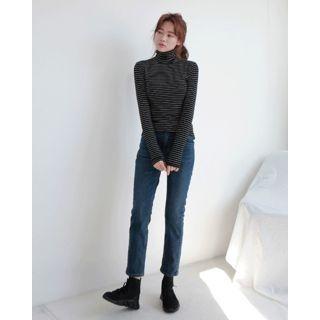 Turtleneck Stripe Slim-Fit Top 1063913260
