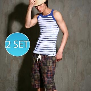 Buy moscod Set: Striped Tank Top + Drawstring-Waist Plaid Shorts 1023034860