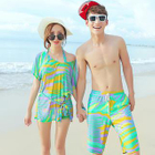 Couple Set: Print Bikini + Cover-Up Top + Swim Shorts 1596