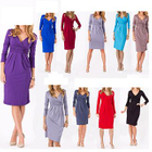 V-neck Ruched Dress 1596