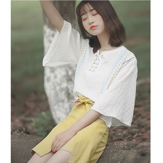 Lace-up Bell Elbow-sleeve Chiffon Top