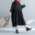 Long-Sleeve Plaid Midi A-Line Dress 1596