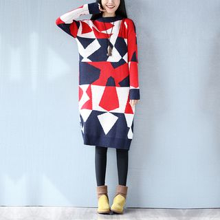 Image of Color-Block Sweater Dress