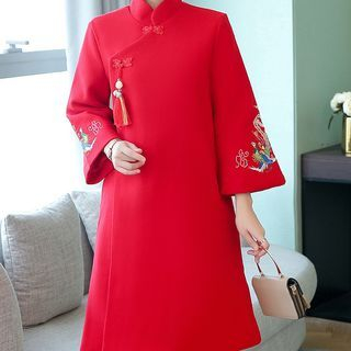Image of Embroidered A-Line Coat Dress