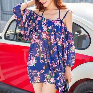 Set: Bikini + Floral Print Beach Cover-Up 1048103031