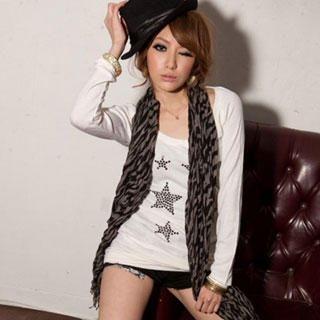 "Buy I'Miusa Long-Sleeve Studded ""Star"" Top 1022094470"