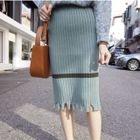 Striped Rib Midi Skirt 1596