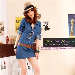 Buy SPICY HOLIC Tabbed Sleeve Denim Dress with Belt 1022536332