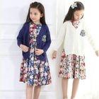 Kids Set : Cardigan + Floral Print Dress 1596