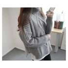 Turgle-Neck Drop-Shoulder Knit Top 1596