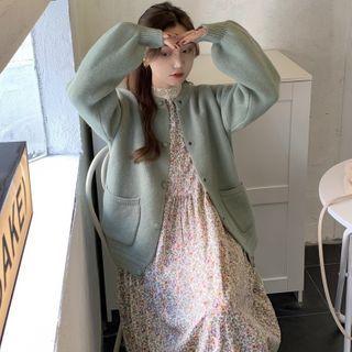 Long-sleeve   Cardigan   Floral   Dress   Print