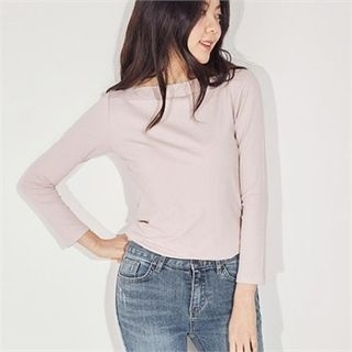 Boat-Neck Colored Ribbed Top 1064860497