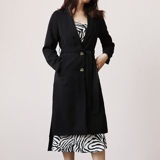 Image of Notch-Lapel Buttoned Dip-Back Trench Coat