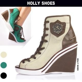 Buy Holly Shoes High-Top Lace-Up Wedge Sneakers 1022489049