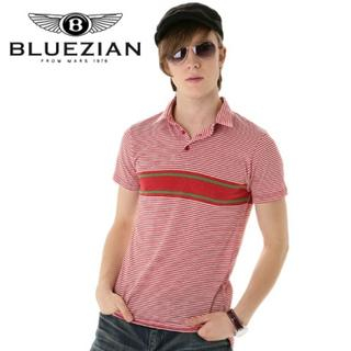 Picture of BLUEZIAN Stripe Polo Shirt Red - One Size 1022807793 (BLUEZIAN, Mens Shirts, Korea)