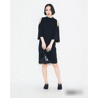 Cutout Shoulder Bell-Sleeve Dress 1049269116