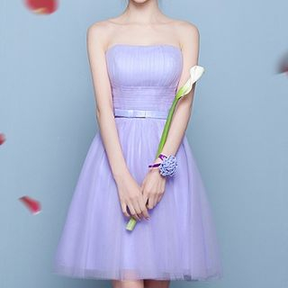 Plain Mesh Bridesmaid Dress 1065551296