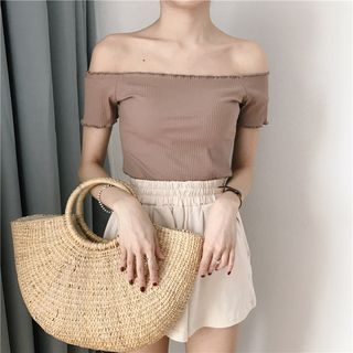 Ribbed Off-Shoulder Short-Sleeve Top 1060488568