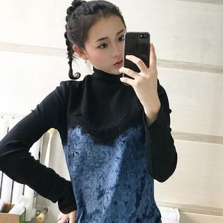 Lace Panel Mock-Neck Long-Sleeve T-Shirt 1060440745