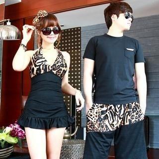 leopard-print-ruffled-tankini-shorts