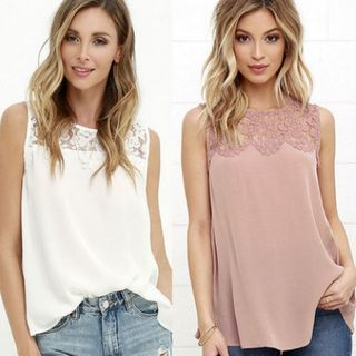 Sleeveless Lace Panel Top 1062031146