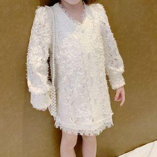 Image of Family Matching Fringed Lace Long-Sleeve Mini Shift Dress