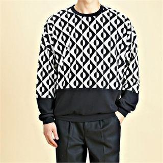 Color-Block Patterned Sweatshirt 1055313727