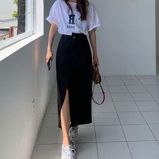 Image of High Waist Slit Maxi Skirt