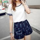 Set: Short-Sleeve Embroidered Top + Patterned Shorts 1596