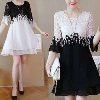 Image of 3/4-Sleeve Lace Paneled A-Line Chiffon Dress