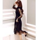 Long-Sleeve Lace Dress with Vest 1596