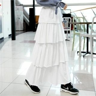 Band-Waist Long Tiered Skirt 1057395306