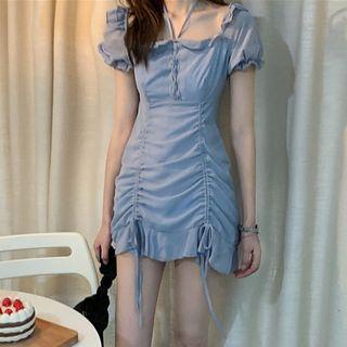 Image of Balloon-Sleeve Drawstring Chiffon Dress