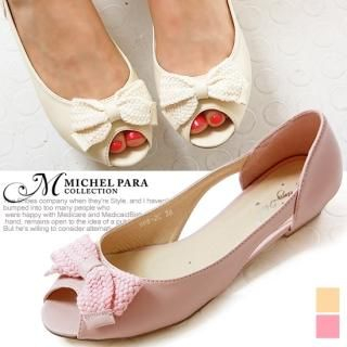 Picture of MICHEL PARA COLLECTION Bow-Accent Open-Toe Flats 1022944598 (Flat Shoes, MICHEL PARA COLLECTION Shoes, Korea Shoes, Womens Shoes, Womens Flat Shoes)