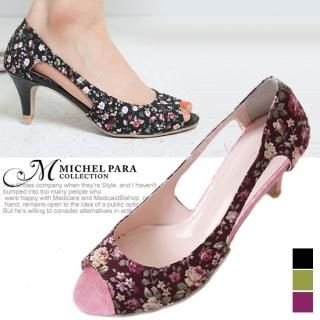 Buy MICHEL PARA COLLECTION Floral Print Open-Toe Pumps 1022727195