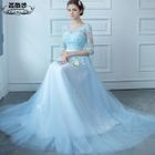 Elbow-Sleeve A-Line Evening Gown 1596