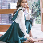 Set: Plain Camisole + Long Sleeve Mock Neck Lace Top + A-Line Pinafore Dress 1596