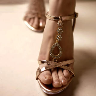 Buy Kvoll Rhinestone T-Bar Wedge Sandals 1022892236