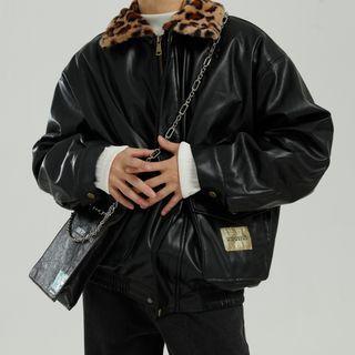 Leopard Print Trim Faux Leather Zip Jacket
