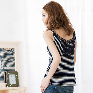 Picture of ageha@shibuya Crochet Detail Striped Sleeveless Top Navy Blue + Off-White - One Size 1022589698 (ageha@shibuya Tees, Womens Tees, Japan Tees, Causal Tops)