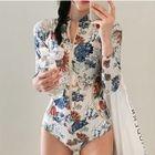 Flower Print Long-Sleeve Swimsuit 1596